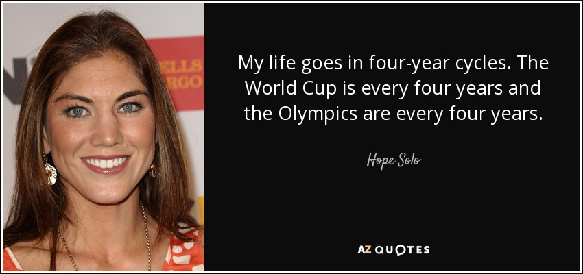 My life goes in four-year cycles. The World Cup is every four years and the Olympics are every four years. - Hope Solo