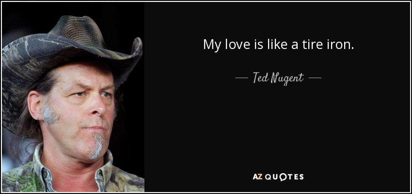 My love is like a tire iron. - Ted Nugent