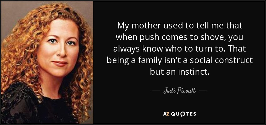 My mother used to tell me that when push comes to shove, you always know who to turn to. That being a family isn't a social construct but an instinct. - Jodi Picoult