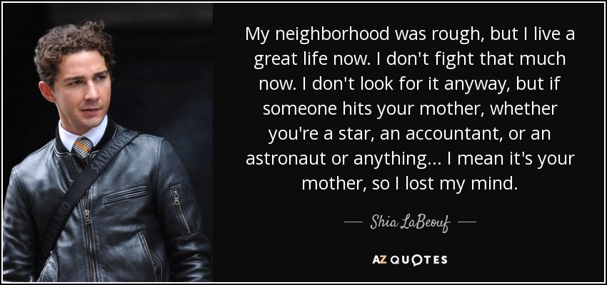 My neighborhood was rough, but I live a great life now. I don't fight that much now. I don't look for it anyway, but if someone hits your mother, whether you're a star, an accountant, or an astronaut or anything... I mean it's your mother, so I lost my mind. - Shia LaBeouf
