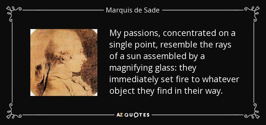 My passions, concentrated on a single point, resemble the rays of a sun assembled by a magnifying glass: they immediately set fire to whatever object they find in their way. - Marquis de Sade