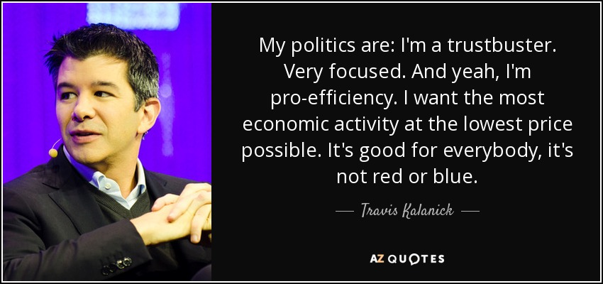My politics are: I'm a trustbuster. Very focused. And yeah, I'm pro-efficiency. I want the most economic activity at the lowest price possible. It's good for everybody, it's not red or blue. - Travis Kalanick