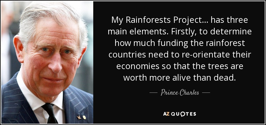 My Rainforests Project ... has three main elements. Firstly, to determine how much funding the rainforest countries need to re-orientate their economies so that the trees are worth more alive than dead. - Prince Charles
