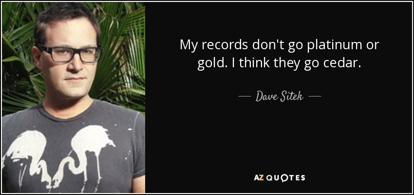 My records don't go platinum or gold. I think they go cedar. - Dave Sitek