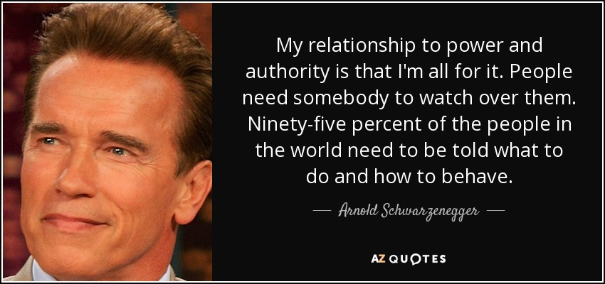 My relationship to power and authority is that I'm all for it. People need somebody to watch over them. Ninety-five percent of the people in the world need to be told what to do and how to behave. - Arnold Schwarzenegger