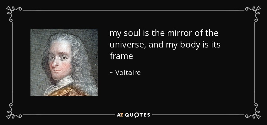 my soul is the mirror of the universe, and my body is its frame - Voltaire