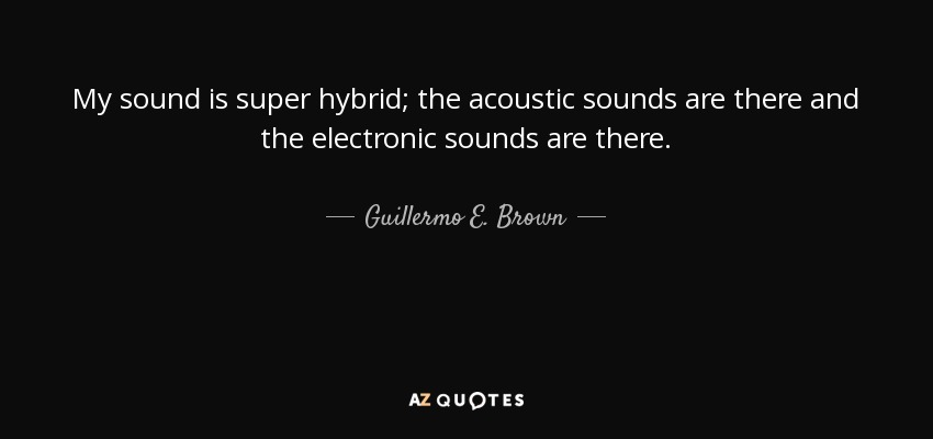 My sound is super hybrid; the acoustic sounds are there and the electronic sounds are there. - Guillermo E. Brown