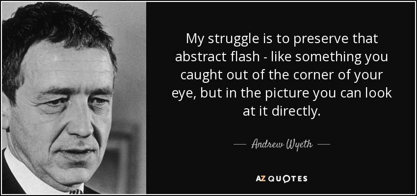 My struggle is to preserve that abstract flash - like something you caught out of the corner of your eye, but in the picture you can look at it directly. - Andrew Wyeth