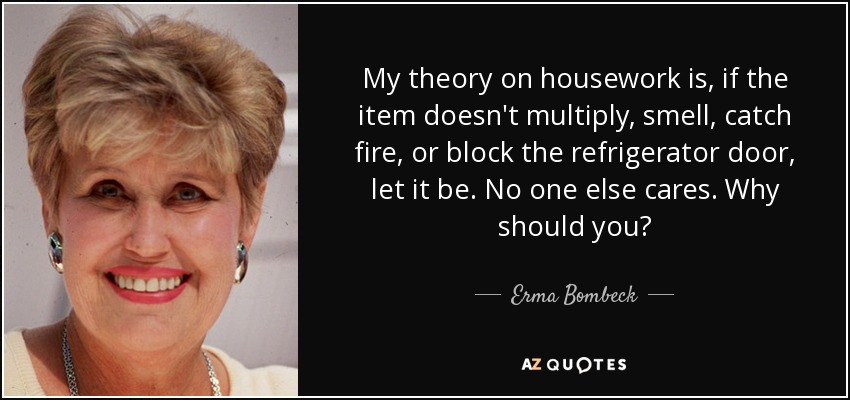 My theory on housework is, if the item doesn't multiply, smell, catch fire, or block the refrigerator door, let it be. No one else cares. Why should you? - Erma Bombeck