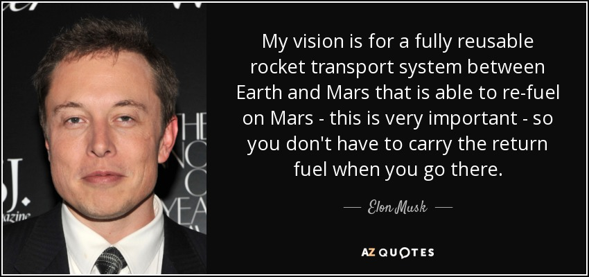 My vision is for a fully reusable rocket transport system between Earth and Mars that is able to re-fuel on Mars - this is very important - so you don't have to carry the return fuel when you go there. - Elon Musk