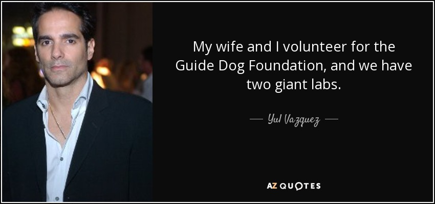 My wife and I volunteer for the Guide Dog Foundation, and we have two giant labs. - Yul Vazquez