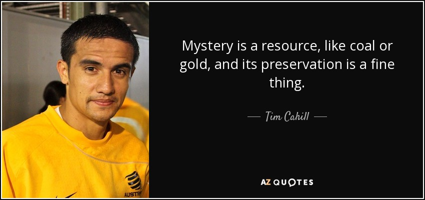 Mystery is a resource, like coal or gold, and its preservation is a fine thing. - Tim Cahill