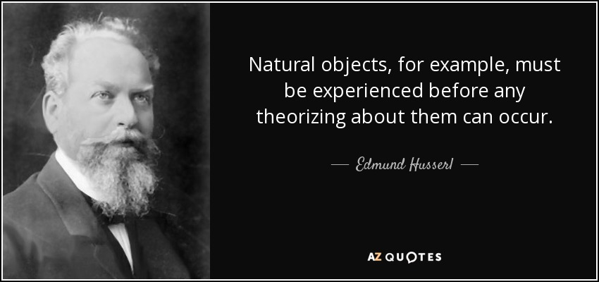Natural objects, for example, must be experienced before any theorizing about them can occur. - Edmund Husserl