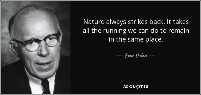 Nature always strikes back. It takes all the running we can do to remain in the same place. - Rene Dubos