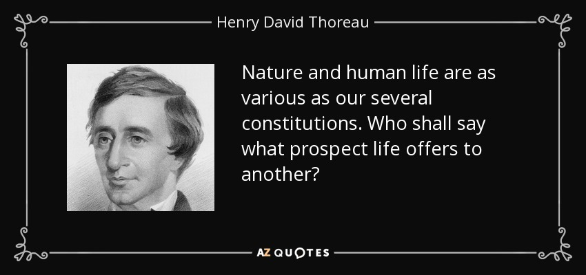 Nature and human life are as various as our several constitutions. Who shall say what prospect life offers to another? - Henry David Thoreau