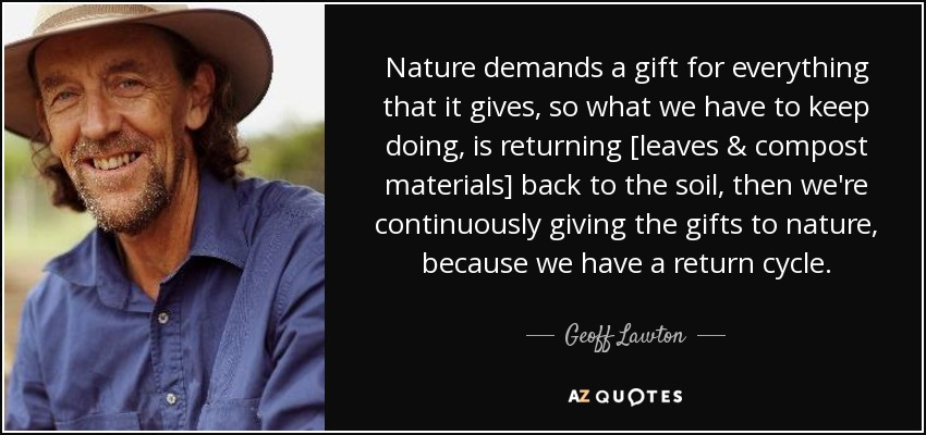 Nature demands a gift for everything that it gives, so what we have to keep doing, is returning [leaves & compost materials] back to the soil, then we're continuously giving the gifts to nature, because we have a return cycle. - Geoff Lawton