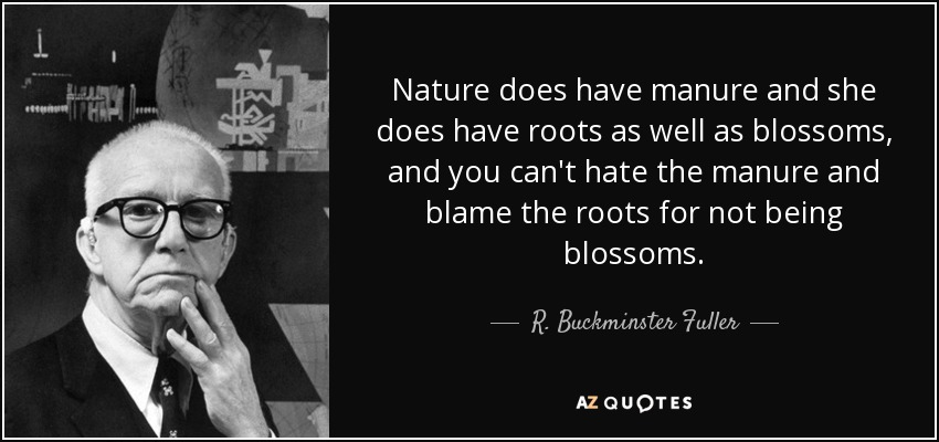 Nature does have manure and she does have roots as well as blossoms, and you can't hate the manure and blame the roots for not being blossoms. - R. Buckminster Fuller
