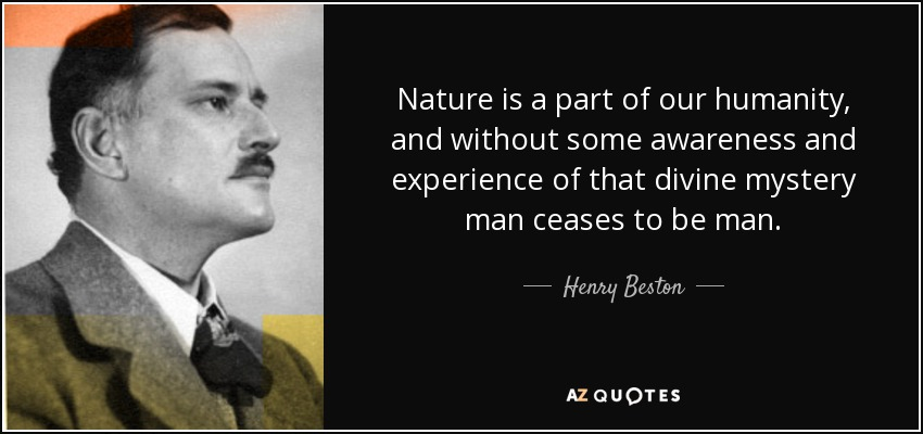 Nature is a part of our humanity, and without some awareness and experience of that divine mystery man ceases to be man. - Henry Beston
