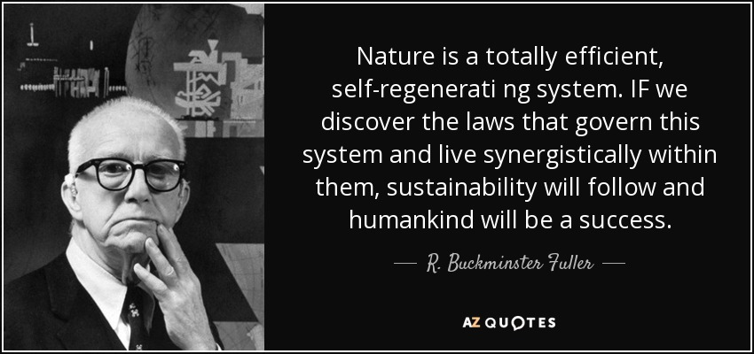 Nature is a totally efficient, self-regenerati ng system. IF we discover the laws that govern this system and live synergistically within them, sustainability will follow and humankind will be a success. - R. Buckminster Fuller