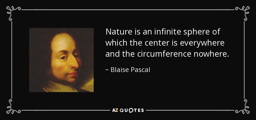 Nature is an infinite sphere of which the center is everywhere and the circumference nowhere. - Blaise Pascal