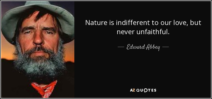 Nature is indifferent to our love, but never unfaithful. - Edward Abbey