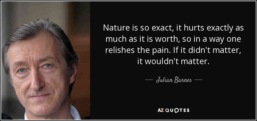 Nature is so exact, it hurts exactly as much as it is worth, so in a way one relishes the pain. If it didn't matter, it wouldn't matter. - Julian Barnes