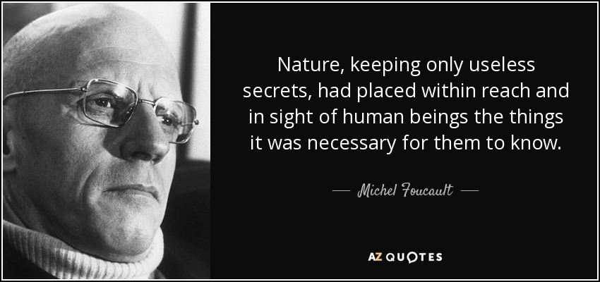 Nature, keeping only useless secrets, had placed within reach and in sight of human beings the things it was necessary for them to know. - Michel Foucault