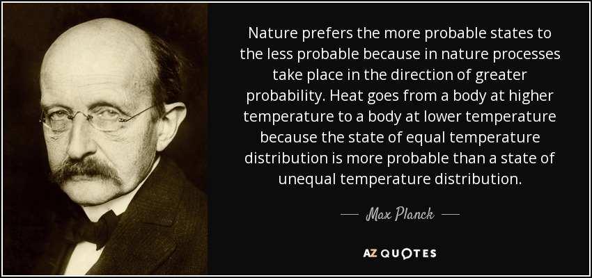 Nature prefers the more probable states to the less probable because in nature processes take place in the direction of greater probability. Heat goes from a body at higher temperature to a body at lower temperature because the state of equal temperature distribution is more probable than a state of unequal temperature distribution. - Max Planck