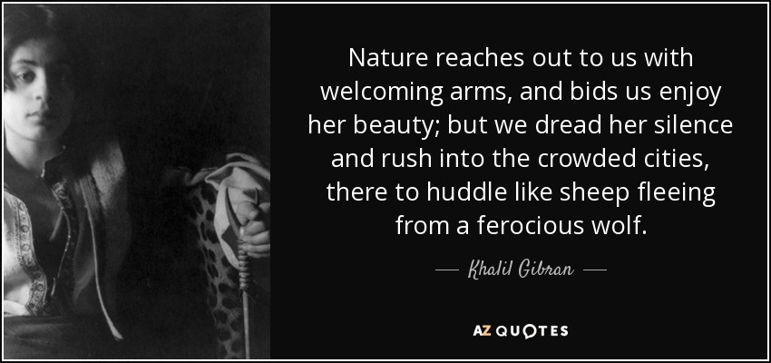 Nature reaches out to us with welcoming arms, and bids us enjoy her beauty; but we dread her silence and rush into the crowded cities, there to huddle like sheep fleeing from a ferocious wolf. - Khalil Gibran