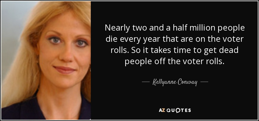 Nearly two and a half million people die every year that are on the voter rolls. So it takes time to get dead people off the voter rolls. - Kellyanne Conway