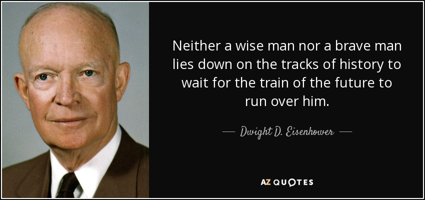 Neither a wise man nor a brave man lies down on the tracks of history to wait for the train of the future to run over him. - Dwight D. Eisenhower