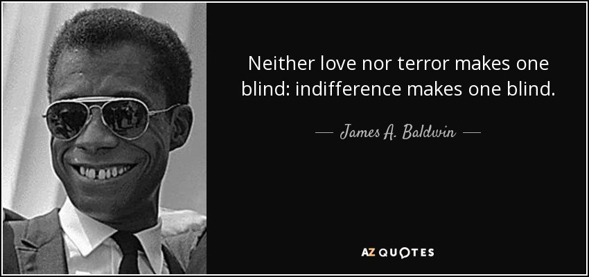 Neither love nor terror makes one blind: indifference makes one blind. - James A. Baldwin