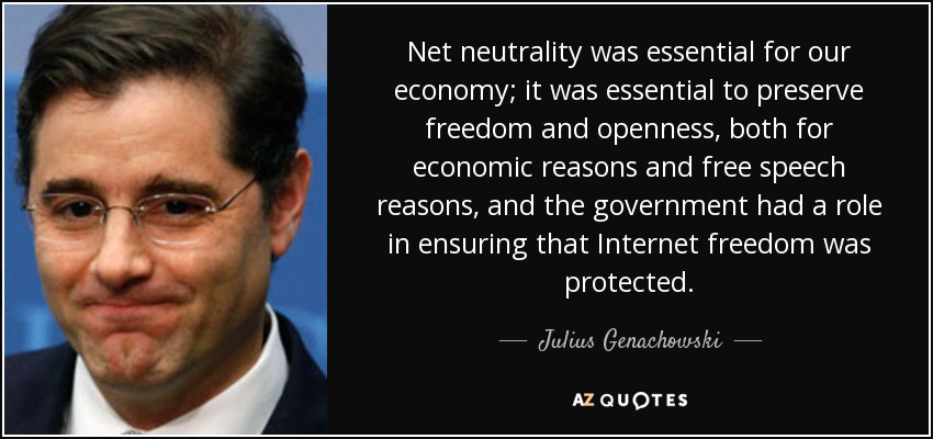 Net neutrality was essential for our economy; it was essential to preserve freedom and openness, both for economic reasons and free speech reasons, and the government had a role in ensuring that Internet freedom was protected. - Julius Genachowski