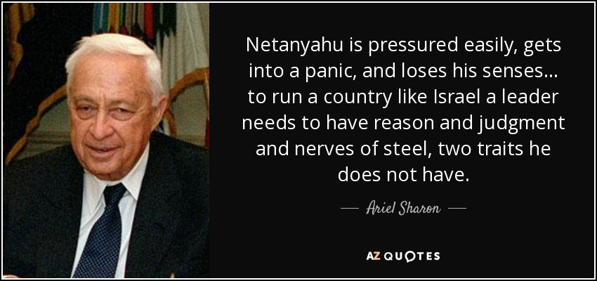 Netanyahu is pressured easily, gets into a panic, and loses his senses... to run a country like Israel a leader needs to have reason and judgment and nerves of steel, two traits he does not have. - Ariel Sharon