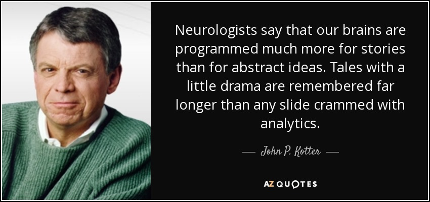 Neurologists say that our brains are programmed much more for stories than for abstract ideas. Tales with a little drama are remembered far longer than any slide crammed with analytics. - John P. Kotter