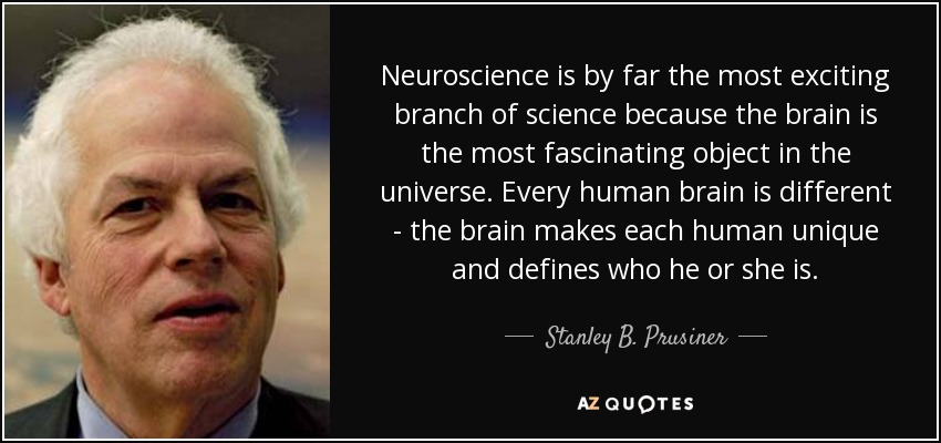 Neuroscience is by far the most exciting branch of science because the brain is the most fascinating object in the universe. Every human brain is different - the brain makes each human unique and defines who he or she is. - Stanley B. Prusiner