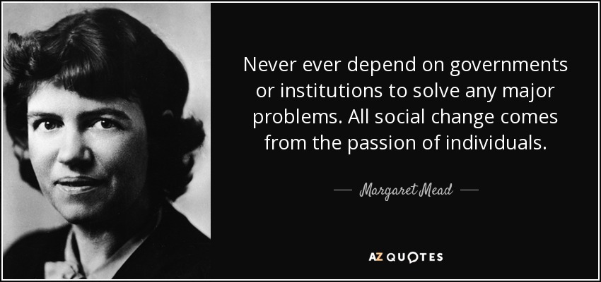 Never ever depend on governments or institutions to solve any major problems. All social change comes from the passion of individuals. - Margaret Mead