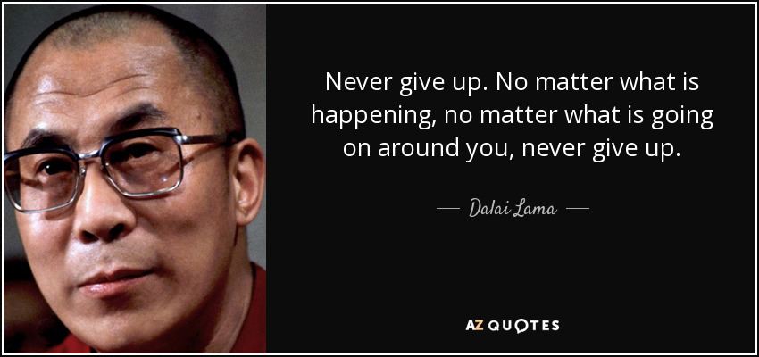 Never give up. No matter what is happening, no matter what is going on around you, never give up. - Dalai Lama