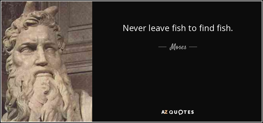 Never leave fish to find fish. - Moses