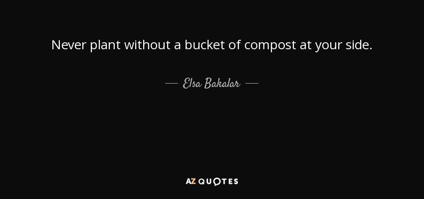 Never plant without a bucket of compost at your side. - Elsa Bakalar