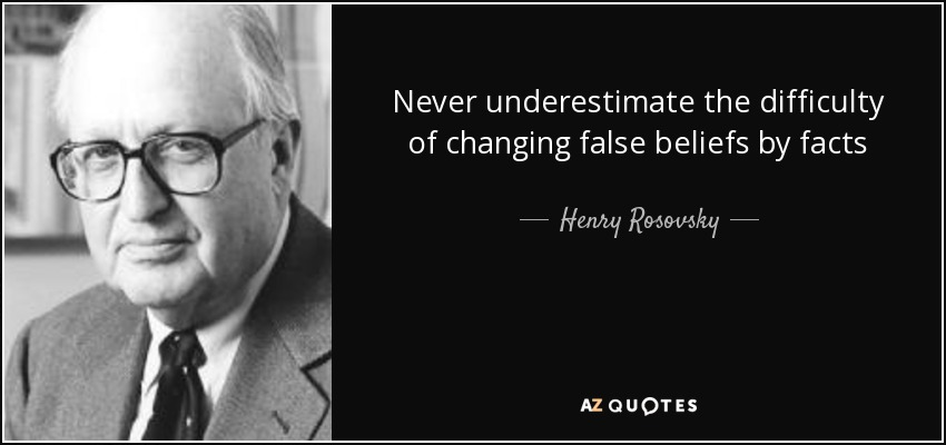 Never underestimate the difficulty of changing false beliefs by facts - Henry Rosovsky
