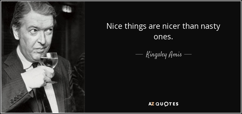 Nice things are nicer than nasty ones. - Kingsley Amis