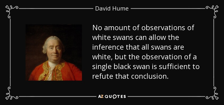 No amount of observations of white swans can allow the inference that all swans are white, but the observation of a single black swan is sufficient to refute that conclusion. - David Hume