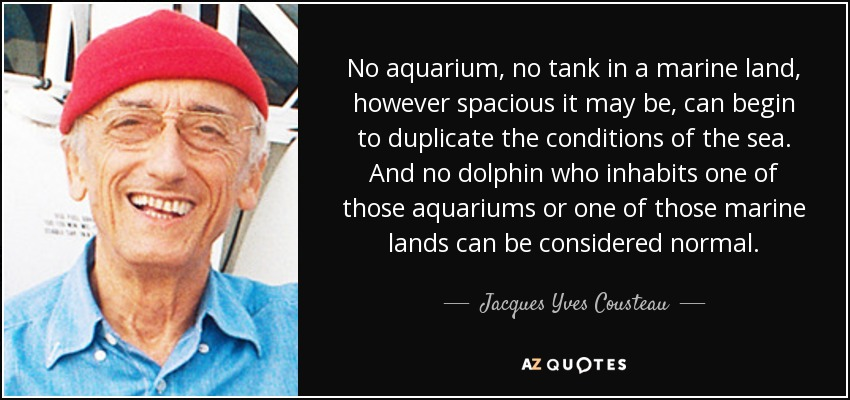 No aquarium, no tank in a marine land, however spacious it may be, can begin to duplicate the conditions of the sea. And no dolphin who inhabits one of those aquariums or one of those marine lands can be considered normal. - Jacques Yves Cousteau
