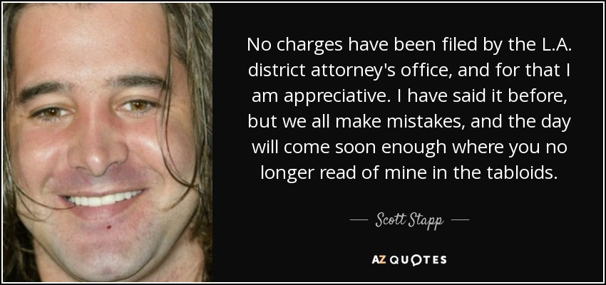 Scott Stapp quote: No charges have been filed by the L A  district