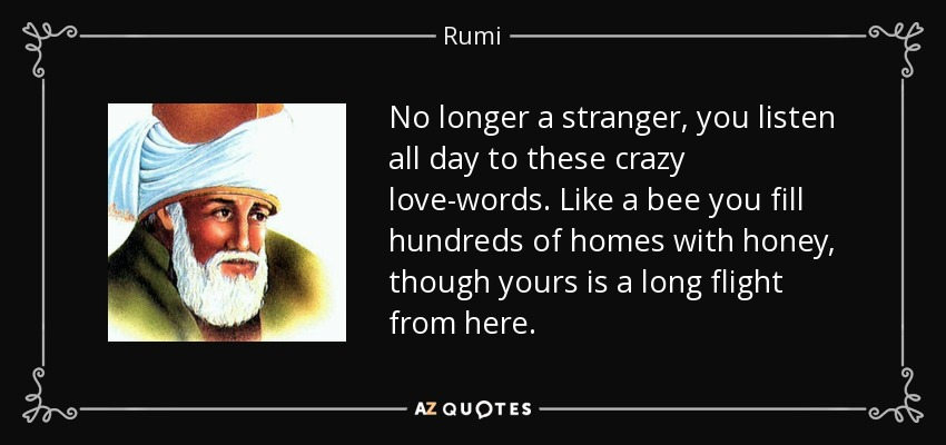 No longer a stranger, you listen all day to these crazy love-words. Like a bee you fill hundreds of homes with honey, though yours is a long flight from here. - Rumi