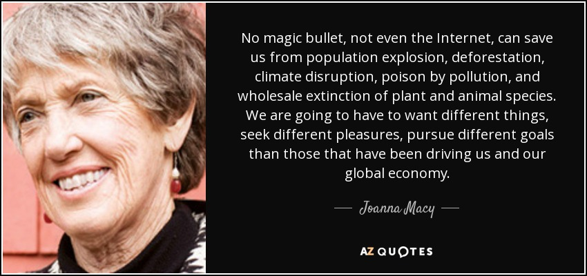No magic bullet, not even the Internet, can save us from population explosion, deforestation, climate disruption, poison by pollution, and wholesale extinction of plant and animal species. We are going to have to want different things, seek different pleasures, pursue different goals than those that have been driving us and our global economy. - Joanna Macy