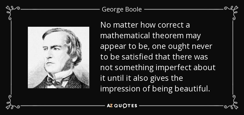 No matter how correct a mathematical theorem may appear to be, one ought never to be satisfied that there was not something imperfect about it until it also gives the impression of being beautiful. - George Boole