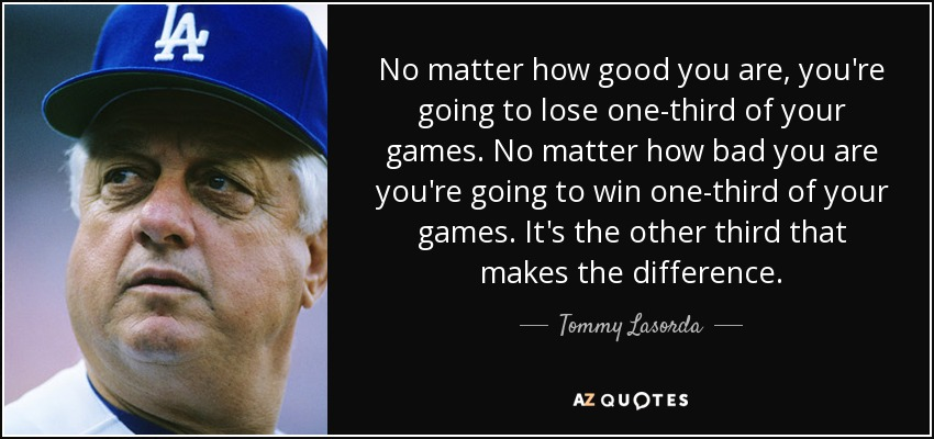 No matter how good you are, you're going to lose one-third of your games. No matter how bad you are you're going to win one-third of your games. It's the other third that makes the difference. - Tommy Lasorda