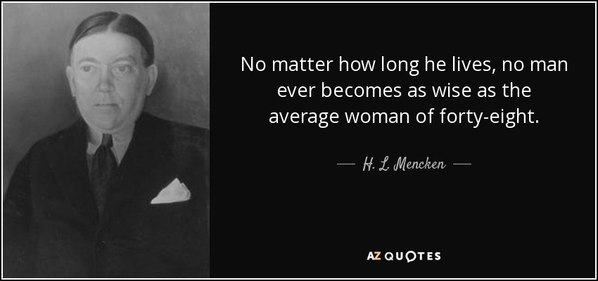 No matter how long he lives, no man ever becomes as wise as the average woman of forty-eight. - H. L. Mencken